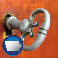 iowa map icon and an antique furniture key