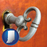 indiana map icon and an antique furniture key