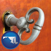 maryland map icon and an antique furniture key
