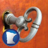 minnesota map icon and an antique furniture key