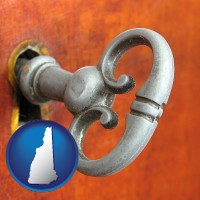 new-hampshire map icon and an antique furniture key