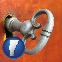 vermont map icon and an antique furniture key