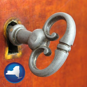 an antique furniture key - with New York icon