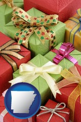 arkansas wrapped holiday gifts
