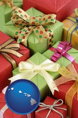 hawaii wrapped holiday gifts