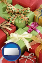 kansas wrapped holiday gifts
