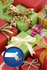 massachusetts wrapped holiday gifts