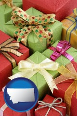 montana wrapped holiday gifts