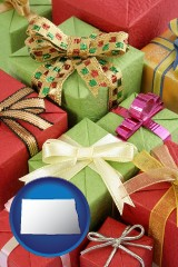 north-dakota wrapped holiday gifts