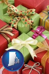 rhode-island wrapped holiday gifts