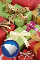 south-carolina wrapped holiday gifts