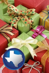 texas wrapped holiday gifts
