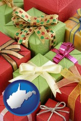 west-virginia wrapped holiday gifts