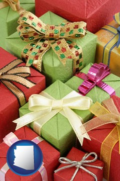 wrapped holiday gifts - with Arizona icon
