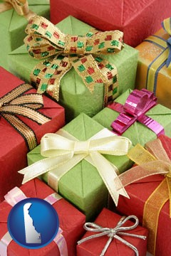 wrapped holiday gifts - with Delaware icon