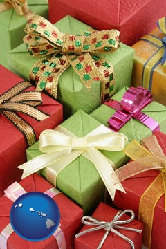 wrapped holiday gifts - with Hawaii icon