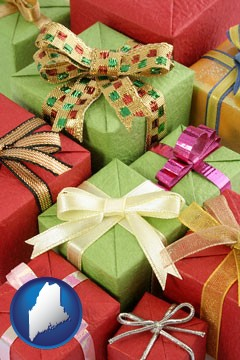 wrapped holiday gifts - with Maine icon