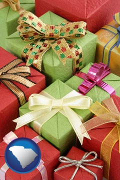 wrapped holiday gifts - with South Carolina icon