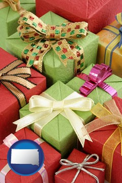 wrapped holiday gifts - with South Dakota icon