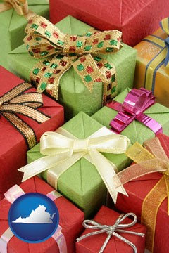 wrapped holiday gifts - with Virginia icon