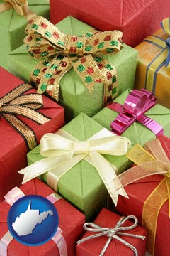 wrapped holiday gifts - with West Virginia icon