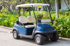a golf cart at a golf course