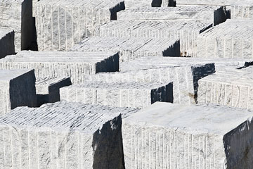 granite blocks in a quarry