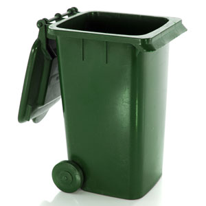 a green plastic garbage can with wheels
