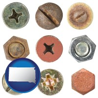 south-dakota map icon and screws heads and bolt heads