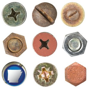 screws heads and bolt heads - with Arkansas icon