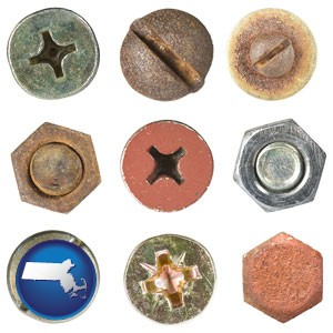 screws heads and bolt heads - with Massachusetts icon