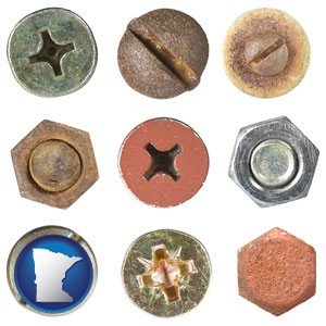 screws heads and bolt heads - with Minnesota icon