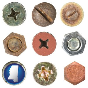 screws heads and bolt heads - with Mississippi icon