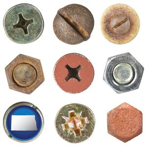 screws heads and bolt heads - with North Dakota icon