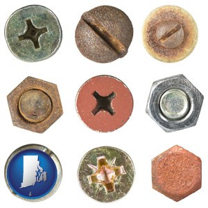 screws heads and bolt heads - with Rhode Island icon