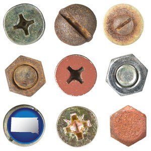 screws heads and bolt heads - with South Dakota icon