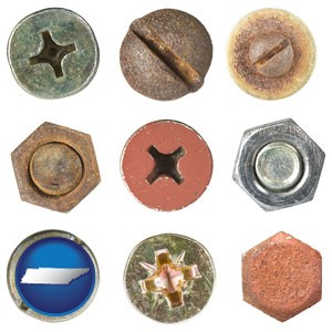 screws heads and bolt heads - with Tennessee icon