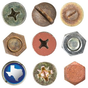 screws heads and bolt heads - with Texas icon