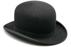 a black bowler hat, isolated on white