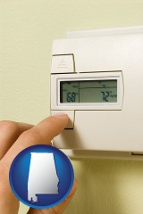 alabama map icon and a heating system thermostat