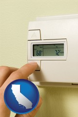 california map icon and a heating system thermostat