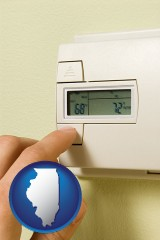 illinois map icon and a heating system thermostat