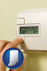 indiana map icon and a heating system thermostat