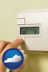 kentucky map icon and a heating system thermostat