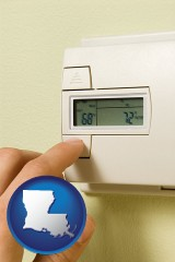 louisiana map icon and a heating system thermostat