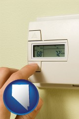 nevada map icon and a heating system thermostat