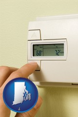 rhode-island map icon and a heating system thermostat