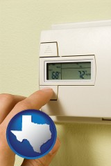 texas map icon and a heating system thermostat