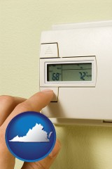 virginia map icon and a heating system thermostat