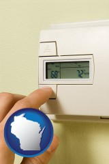 wisconsin map icon and a heating system thermostat